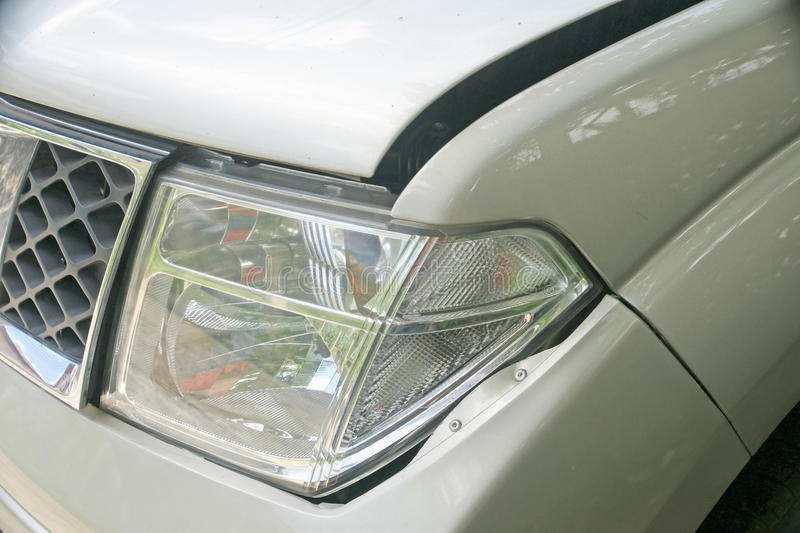A dent on the left front of a pickup truck (damage from crash). A dent on the left front of a pickup truck (damage from crash accident royalty free stock photos