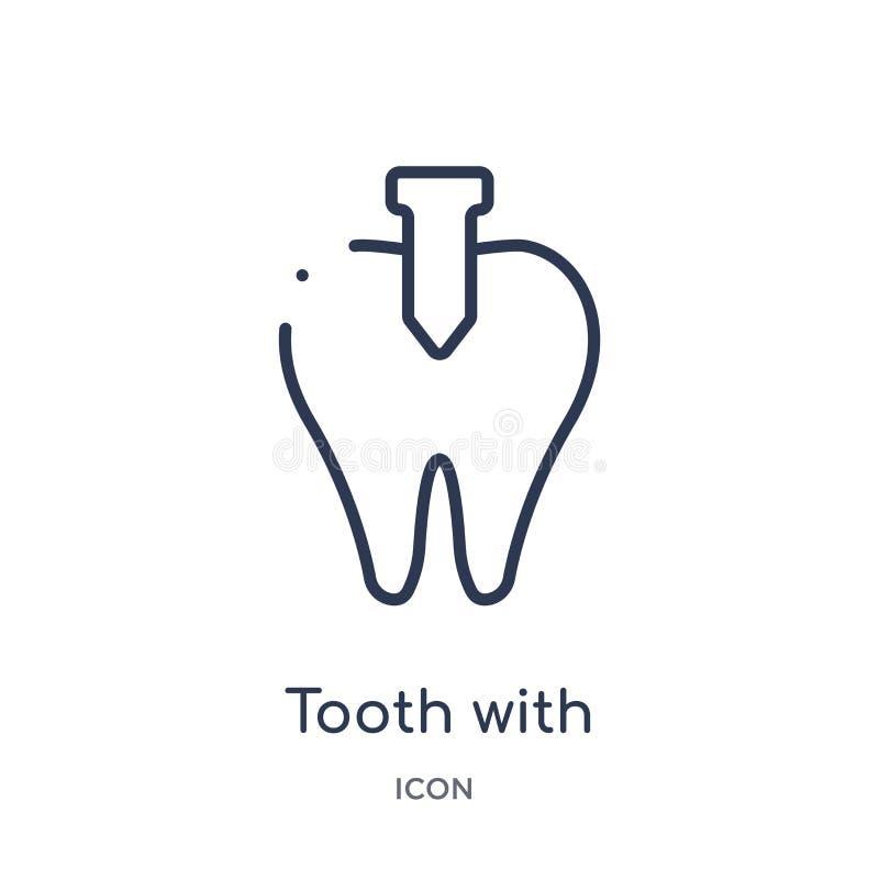 Dent linéaire avec l'icône métallique de racine de la collection d'ensemble de dentiste Ligne mince dent avec l'icône métallique  illustration libre de droits