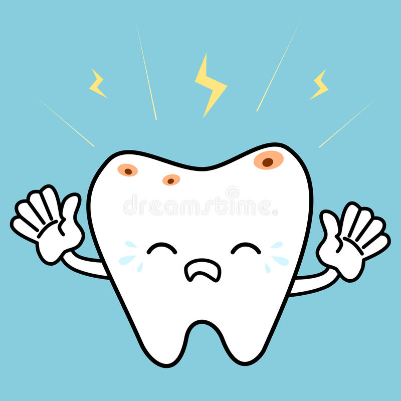 Dent malade pleurante de bande dessinée avec l'illustration dentaire de concept de délabrement illustration libre de droits