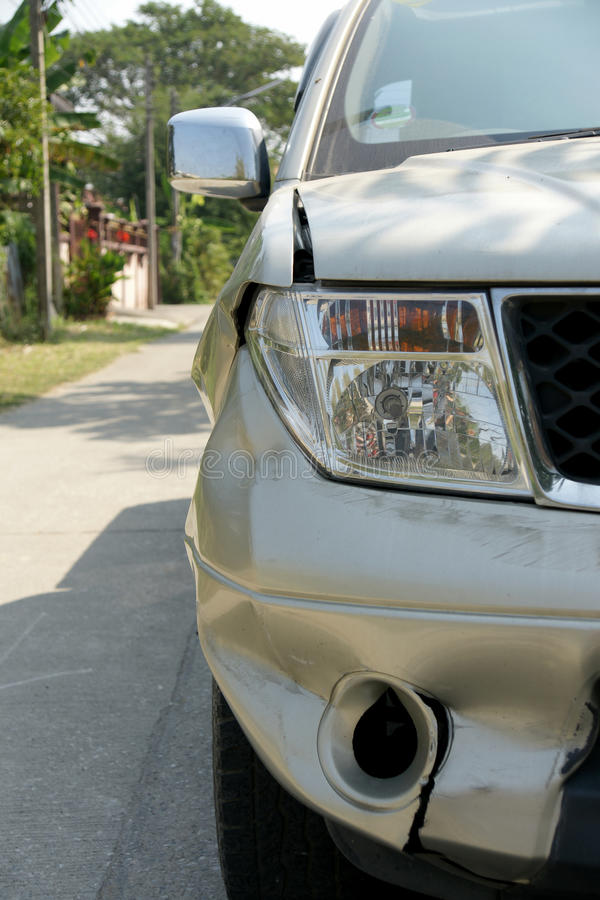 A dent on the right front of a pickup truck. (damage from crashed accident royalty free stock images