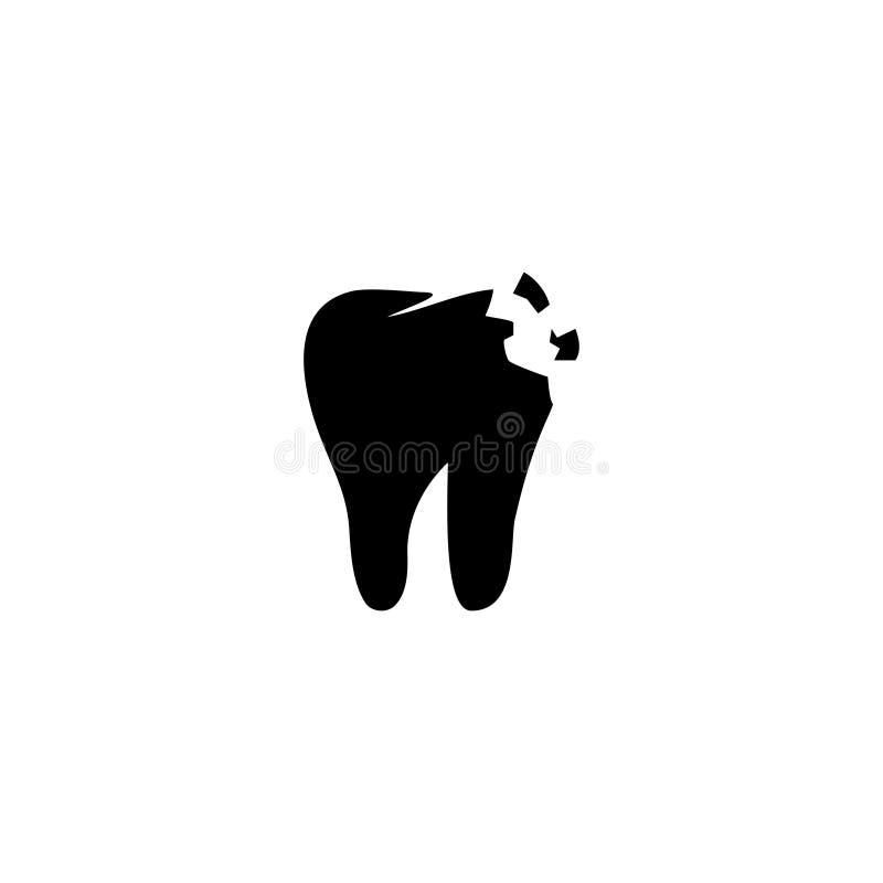 Dent rompue ou criquée, icône plate de vecteur de problème dentaire illustration stock