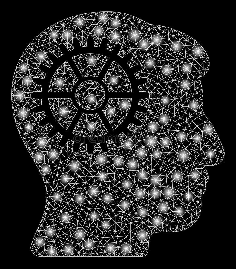 Dent rougeoyante d'intellect de maille 2D avec les taches instantanées illustration libre de droits