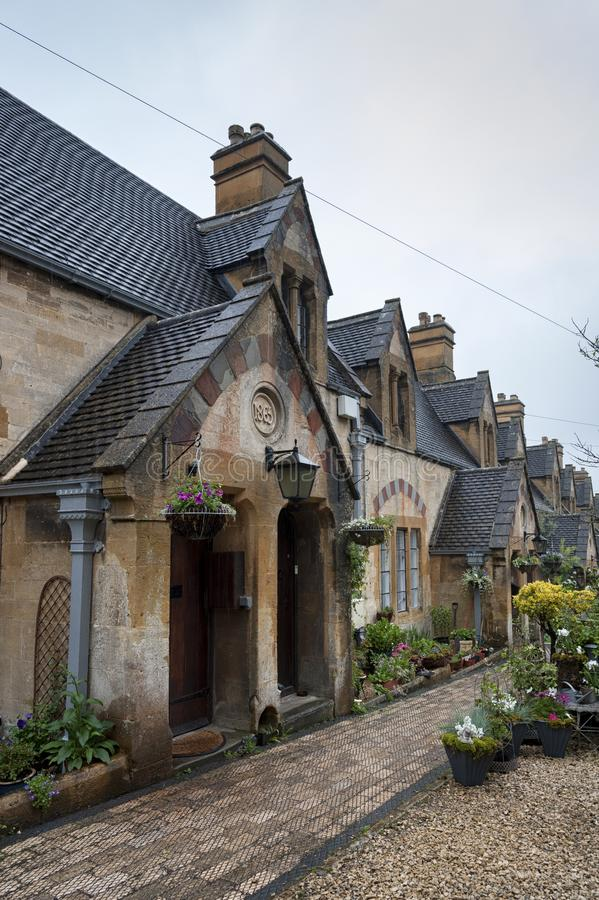 Dent`s Almshouses in the Cotswold village of Winchcombe, built for Emma Dent of Sudeley Castle, by Sir George Gilbert Scott. WINCHCOMBE, ENGLAND -MAY, 25 2018 stock image