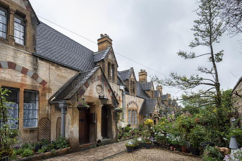 Dent`s Almshouses in the Cotswold village of Winchcombe, built for Emma Dent of Sudeley Castle, by Sir George Gilbert Scott. WINCHCOMBE, ENGLAND -MAY, 25 2018 royalty free stock images