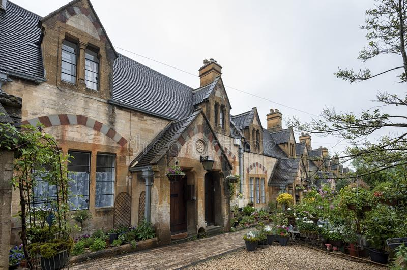Dent`s Almshouses in the Cotswold village of Winchcombe, built for Emma Dent of Sudeley Castle, by Sir George Gilbert Scott. WINCHCOMBE, ENGLAND -MAY, 25 2018 stock photo