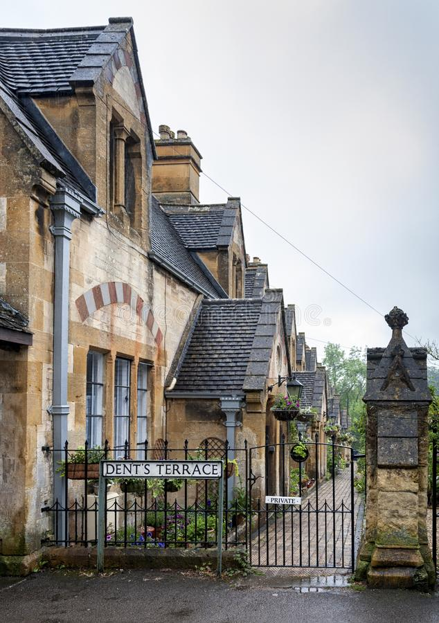 Dent`s Almshouses in the Cotswold village of Winchcombe, built for Emma Dent of Sudeley Castle, by Sir George Gilbert Scott. WINCHCOMBE, ENGLAND -MAY, 25 2018 stock images