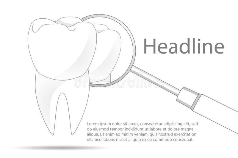 Dent saine Clinique dentaire Matériel dentaire Sur un fond blanc illustration stock