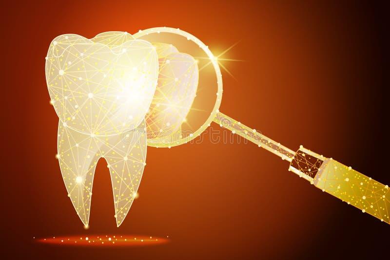 Dent saine Clinique dentaire un effet d'or de la poussière Basse poly conception polygonale illustration de vecteur