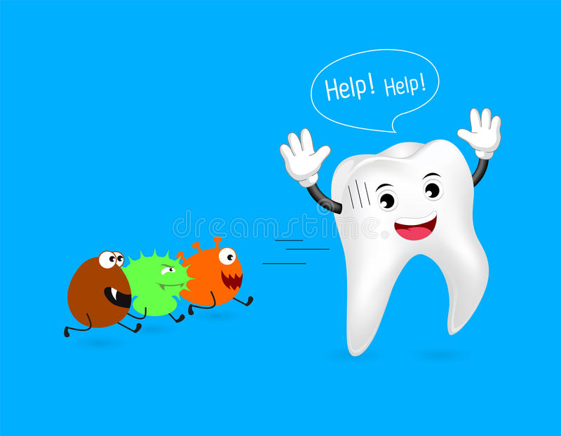 Dent saine courue à partir des bactéries illustration libre de droits