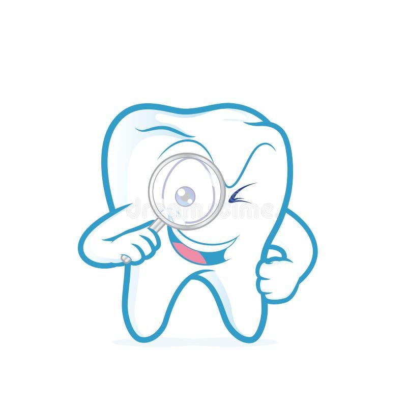Dent tenant la loupe illustration de vecteur