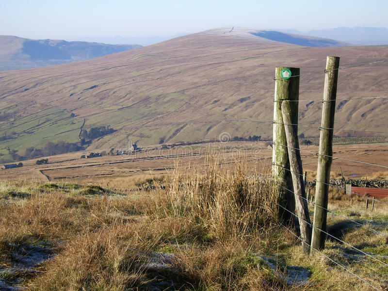 Dent View 1. View of the Fells around Dent railway station in Cumbria, UK stock image