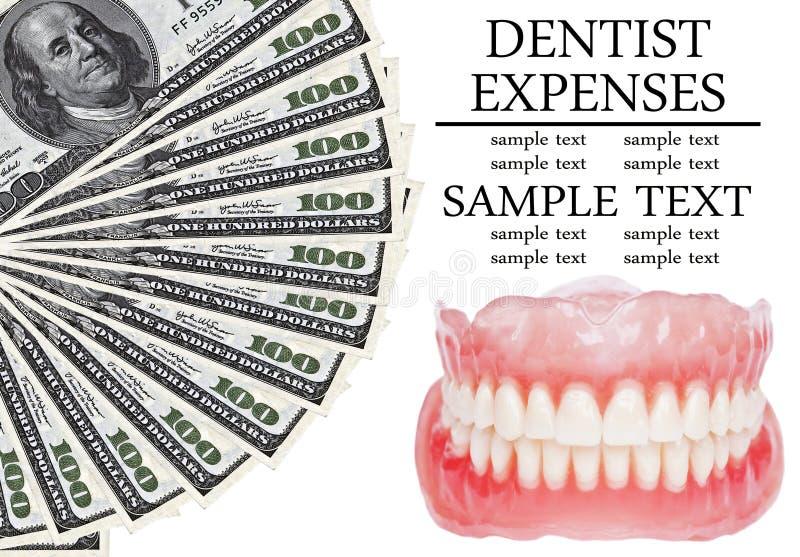 Dentadura y dólares - imagen conceptual de los costos dentales imagen de archivo libre de regalías