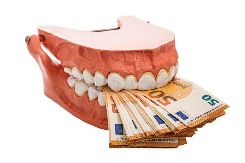 Dentaduras com euro- cédulas fotos de stock