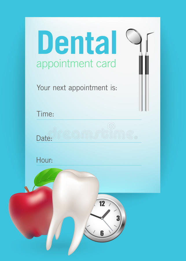 Dental appointment card. With dental symbols royalty free illustration