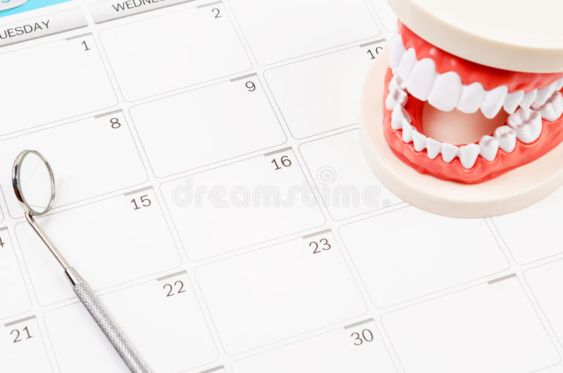 Dental appointment concept. Idea with Generic dental teeth model and dental mirror on a calendar with space for text stock photography