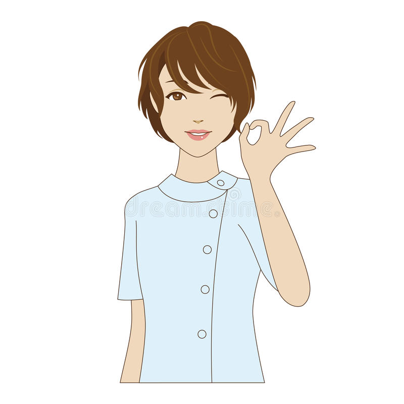 Dental assistant posing with OK sign. Winking female dental assistant in uniform posing with OK sign vector illustration
