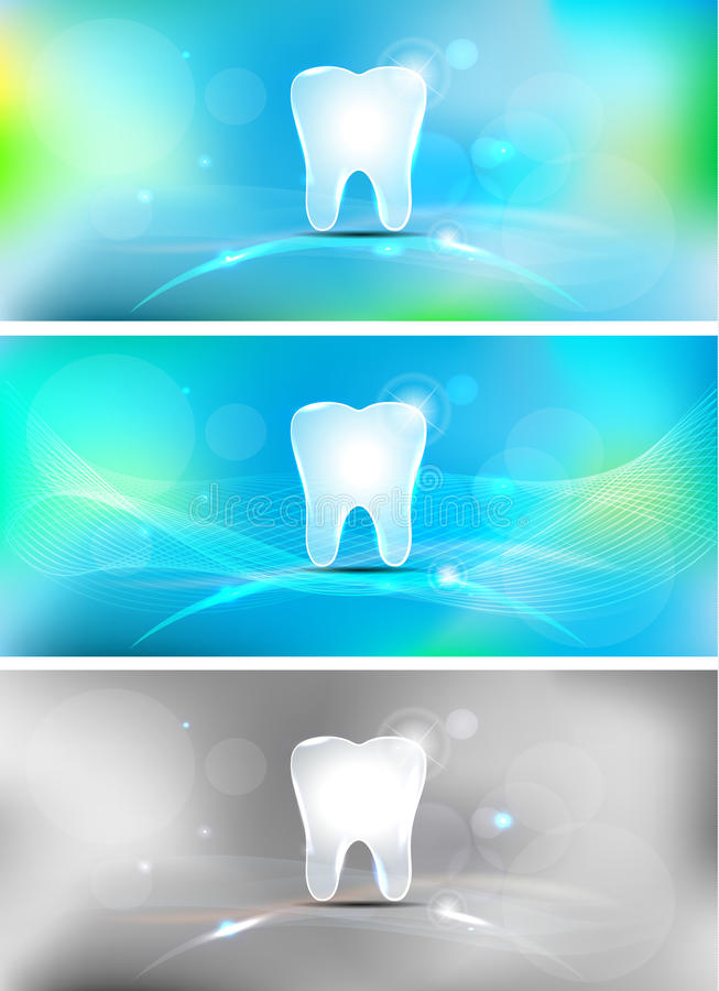 Dental background. Beautiful light blue dental banners, three colors vector illustration