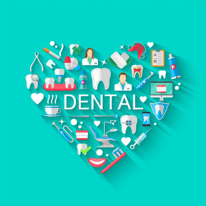 Dental Banner Background Concept With Flat Icons Isolated. Vector Illustration, Dentistry, Orthodontics. Healthy clean. Teeth. Dental instruments and equipment royalty free illustration
