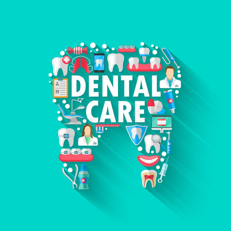 Dental Banner Background Concept With Flat Icons Isolated. Vector Illustration, Dentistry, Orthodontics. Healthy clean. Teeth. Dental instruments and equipment stock illustration
