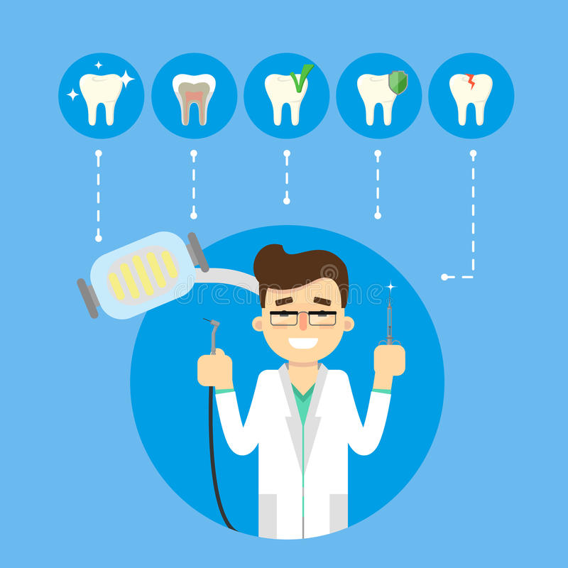 Dental banner with smiling male dentist stock illustration