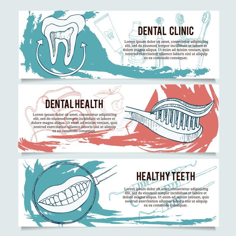 Dental banners or website header set. vector illustration