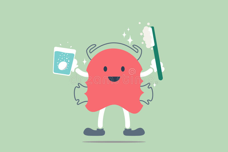 Dental braces cleaning. Dental cartoon vector, orthodontic teeth retainer brace bracket cleaning vector illustration