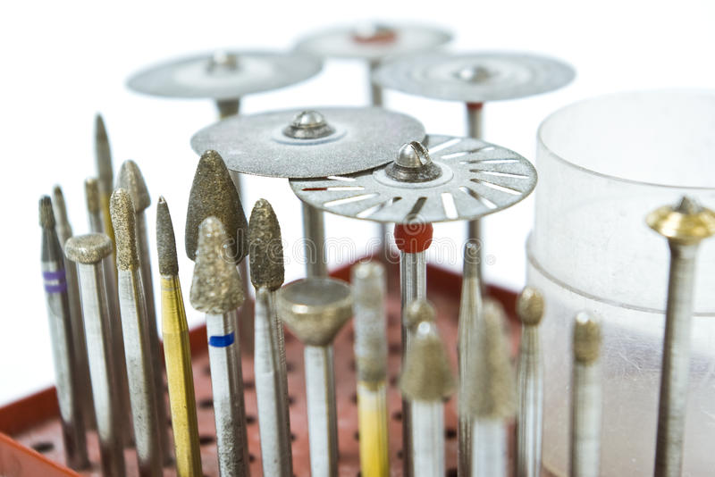 Dental burs. And grinding wheels for laboratory stock photo