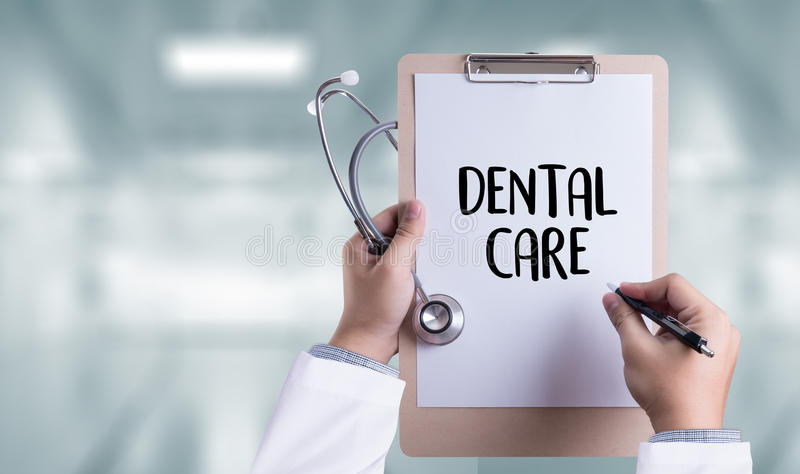 DENTAL CARE Beautiful woman with toothbrush , Healthy smile and. A dentist royalty free stock photos