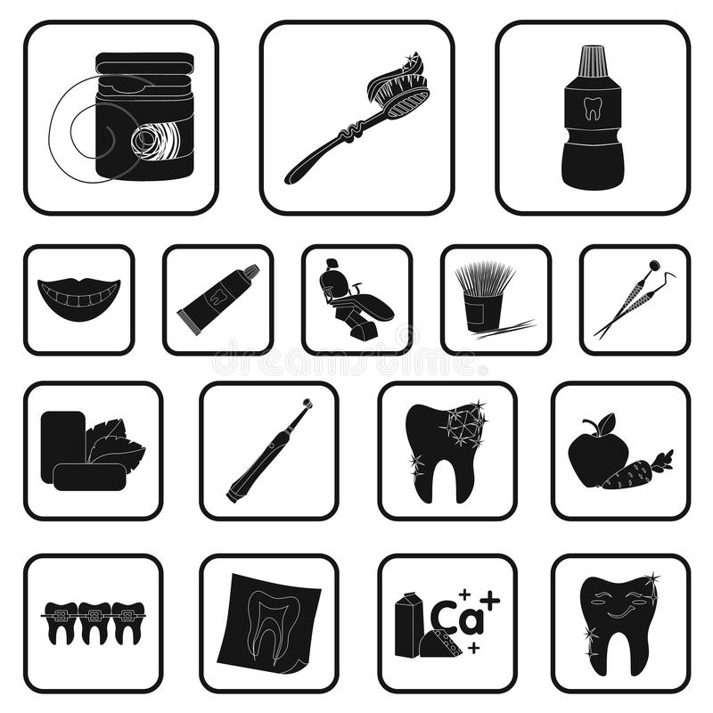 Dental Care Black Icons In Set Collection For Design Care Of Teeth