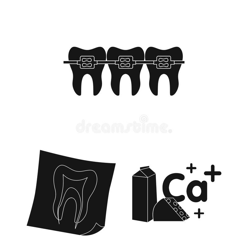 Dental care black icons in set collection for design. Care of teeth vector symbol stock web illustration. Dental care black icons in set collection for design stock illustration
