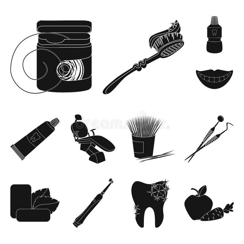 Dental care black icons in set collection for design. Care of teeth vector symbol stock web illustration. Dental care black icons in set collection for design vector illustration