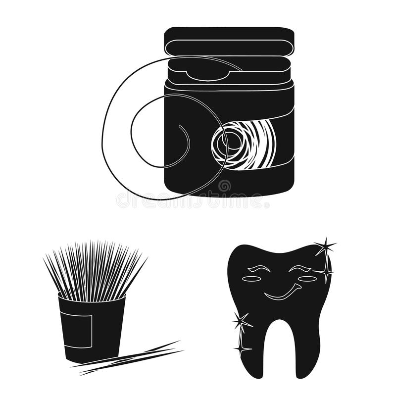 Dental care black icons in set collection for design. Care of teeth vector symbol stock web illustration. Dental care black icons in set collection for design royalty free illustration
