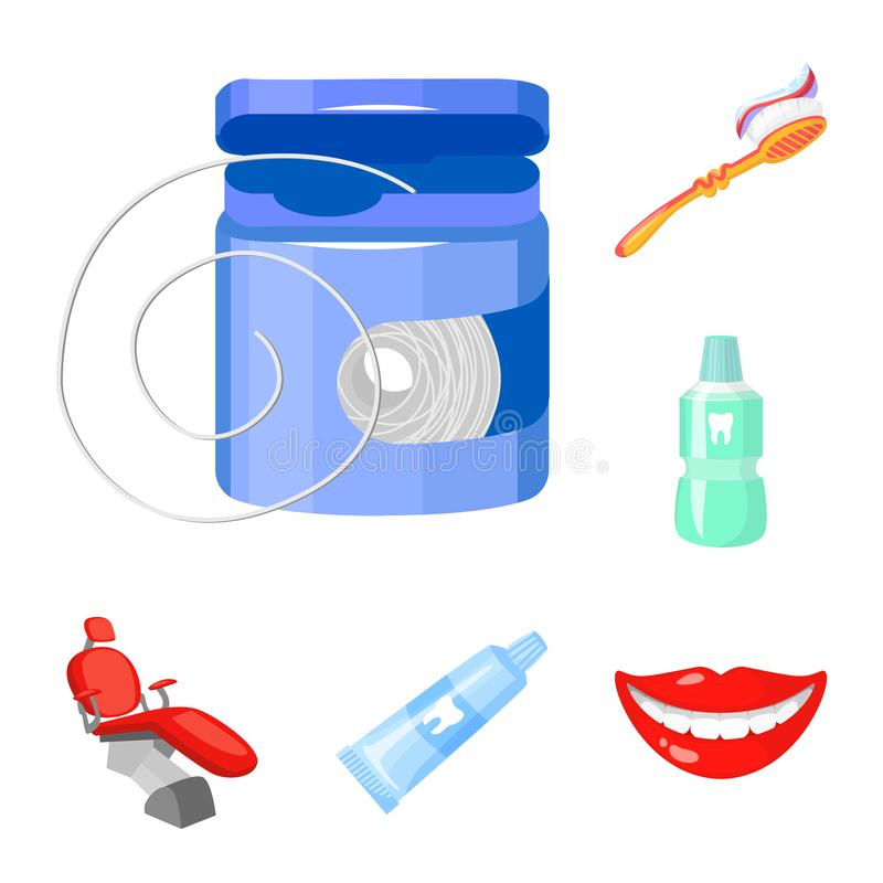 Dental care cartoon icons in set collection for design. Care of teeth vector symbol stock web illustration. Dental care cartoon icons in set collection for stock illustration