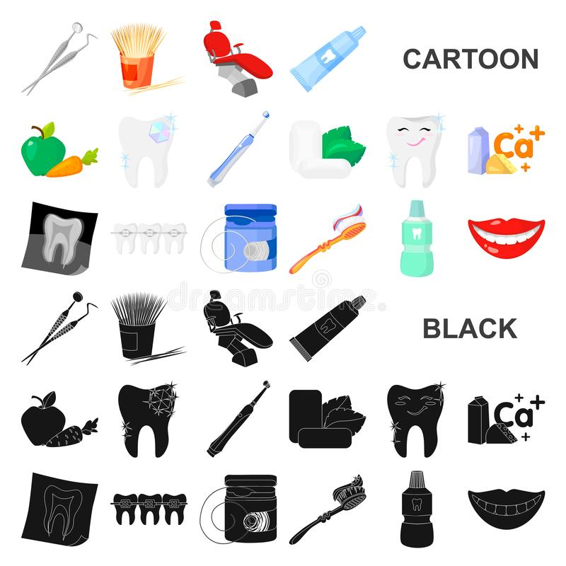 Dental care cartoon icons in set collection for design. Care of teeth vector symbol stock web illustration. Dental care cartoon icons in set collection for vector illustration