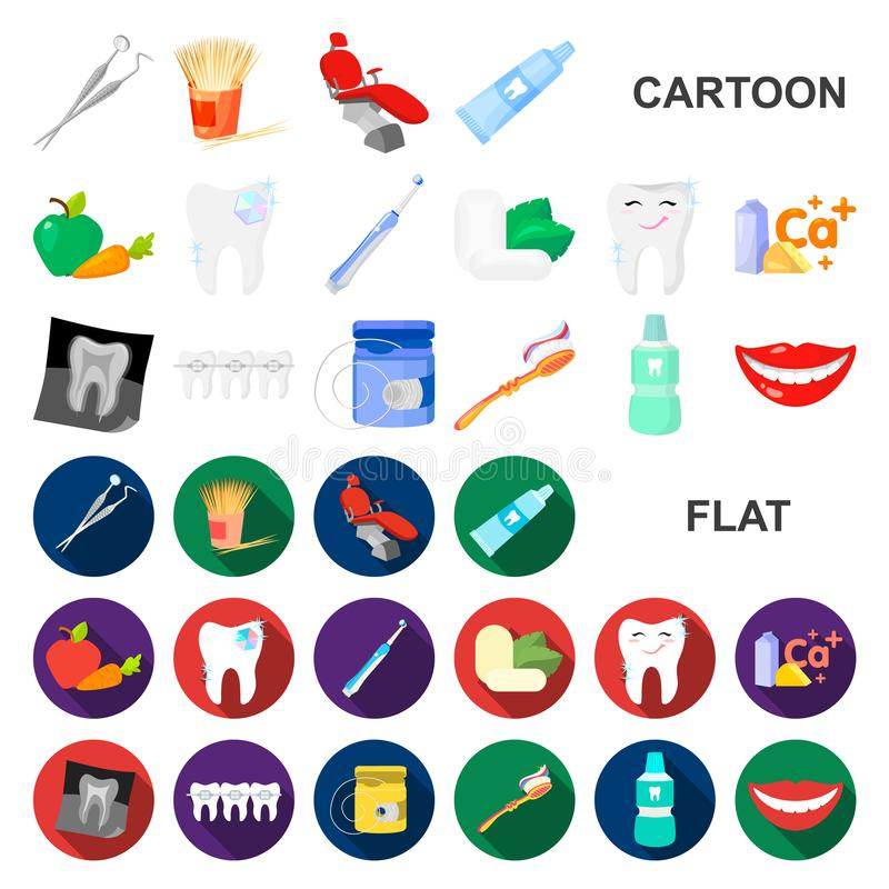 Dental care cartoon icons in set collection for design. Care of teeth vector symbol stock web illustration. Dental care cartoon icons in set collection for royalty free illustration