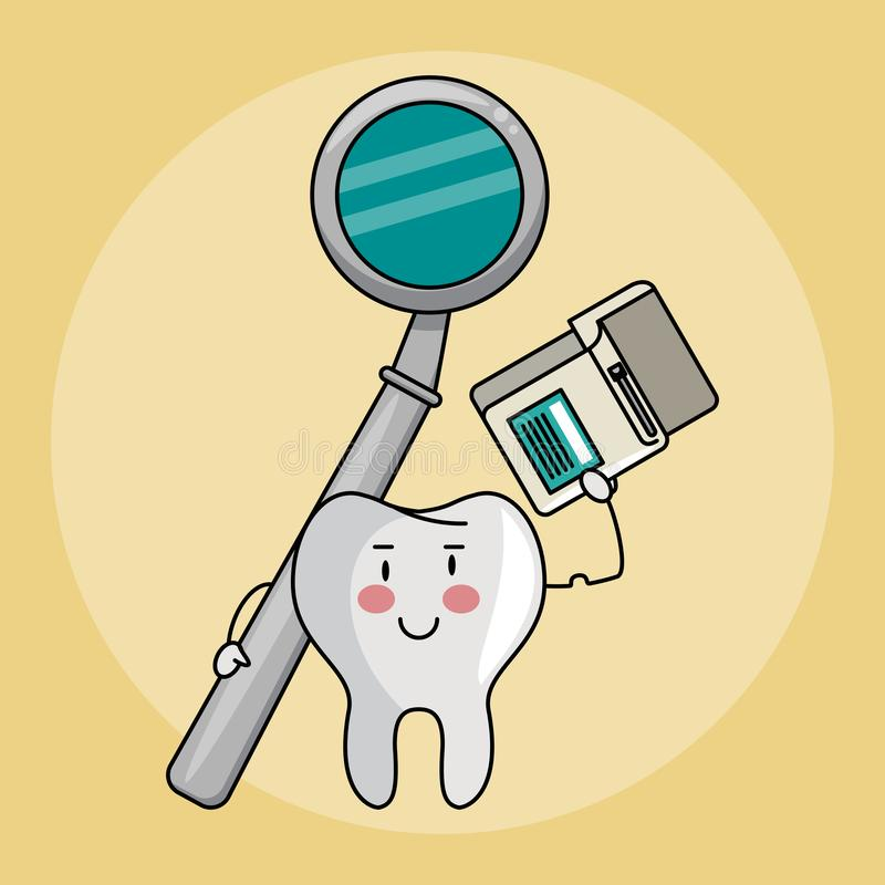Dental care cartoons. Dental care and hygiene teeth with tools cute cartoons vector illustration graphic design royalty free illustration
