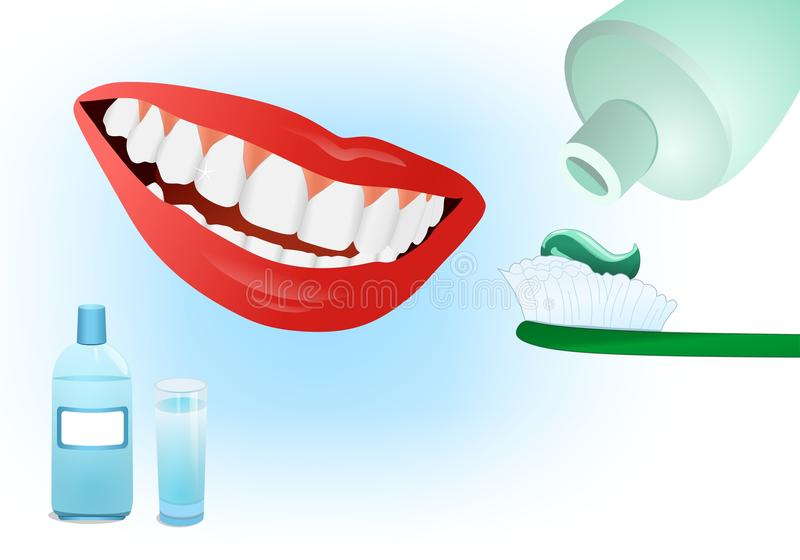 Dental care, cdr vector. Concept of dental care with white healthy teeth, tooth paste and mouthwash, vector format royalty free illustration