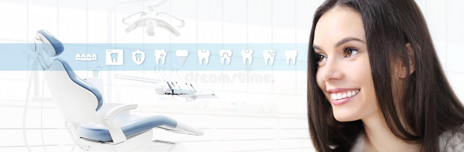 Dental care concept, beautiful smiling woman on dentist clinic b vector illustration