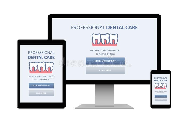 Dental care concept on electronic devices isolated on white background stock photography