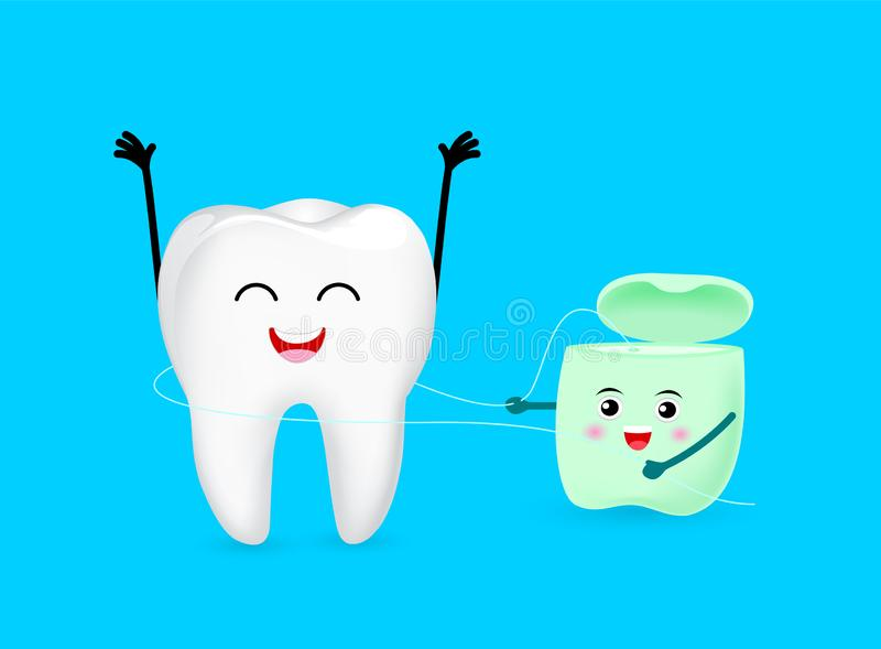 Cute cartoon tooth character cleaned by dental floss. Dental care concept. Illustration isolated on blue background stock illustration