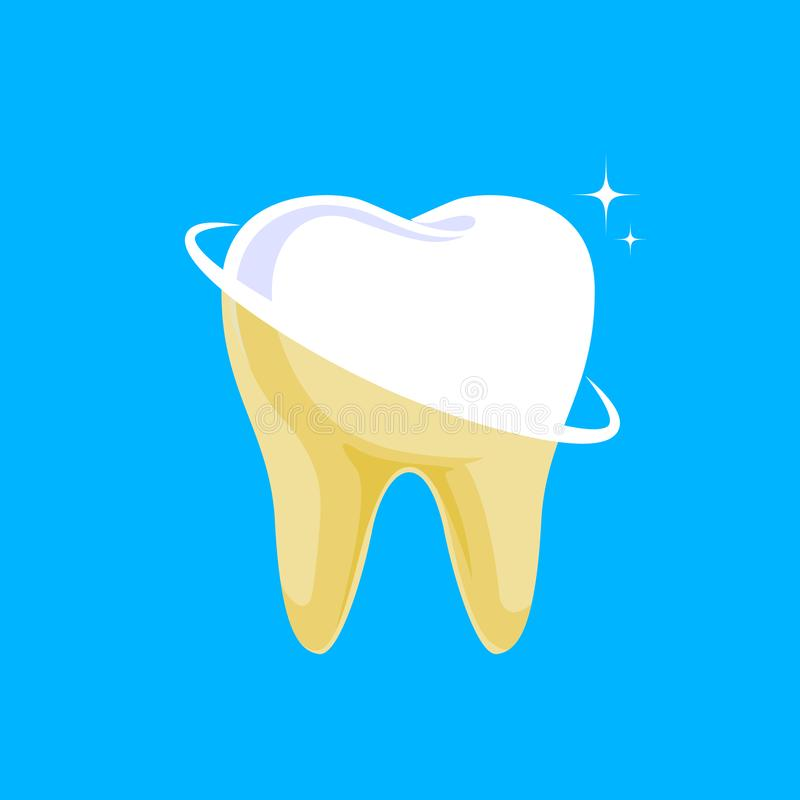 Tooth before and after. Yellow becomes white, stock illustration
