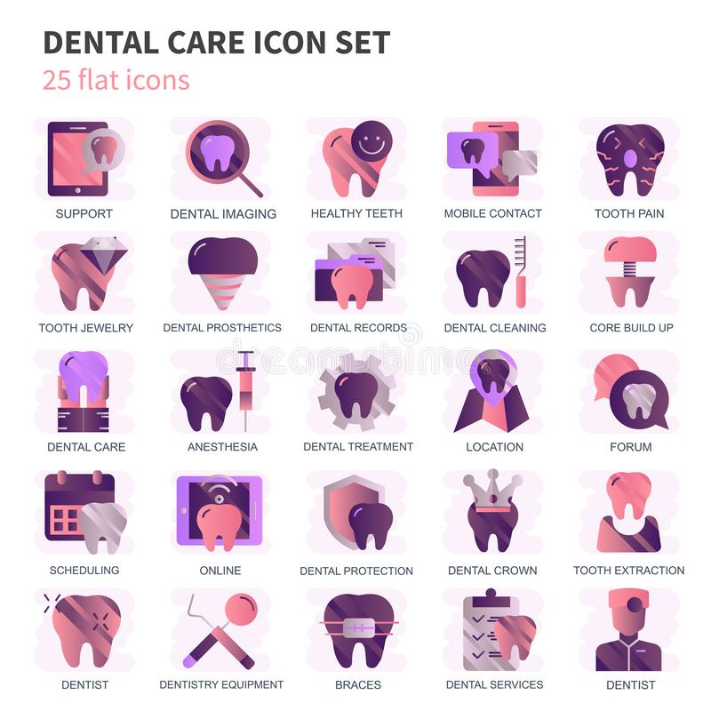 Dental care, dentistry equipment icons set for website and mobile site and apps. Contains such Icons as Dentist, Braces royalty free illustration