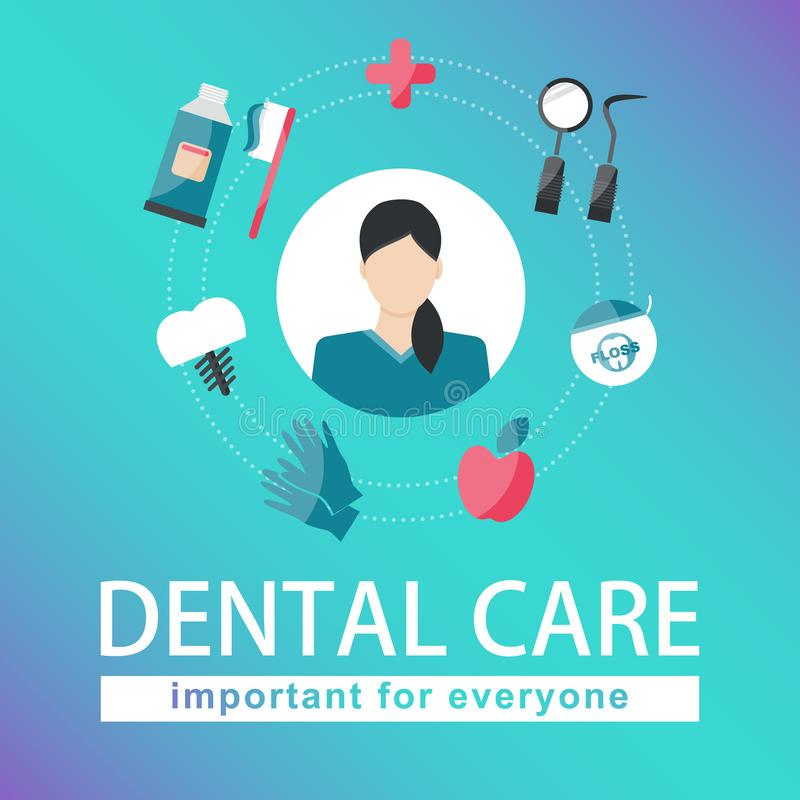 Dental care elements on gradient green royalty free illustration