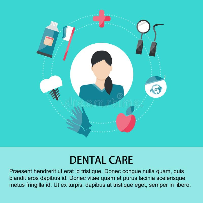 Dental care elements on green background vector illustration