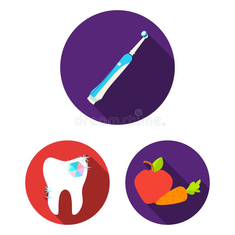 Dental care flat icons in set collection for design. Care of teeth vector symbol stock web illustration. Dental care flat icons in set collection for design stock illustration
