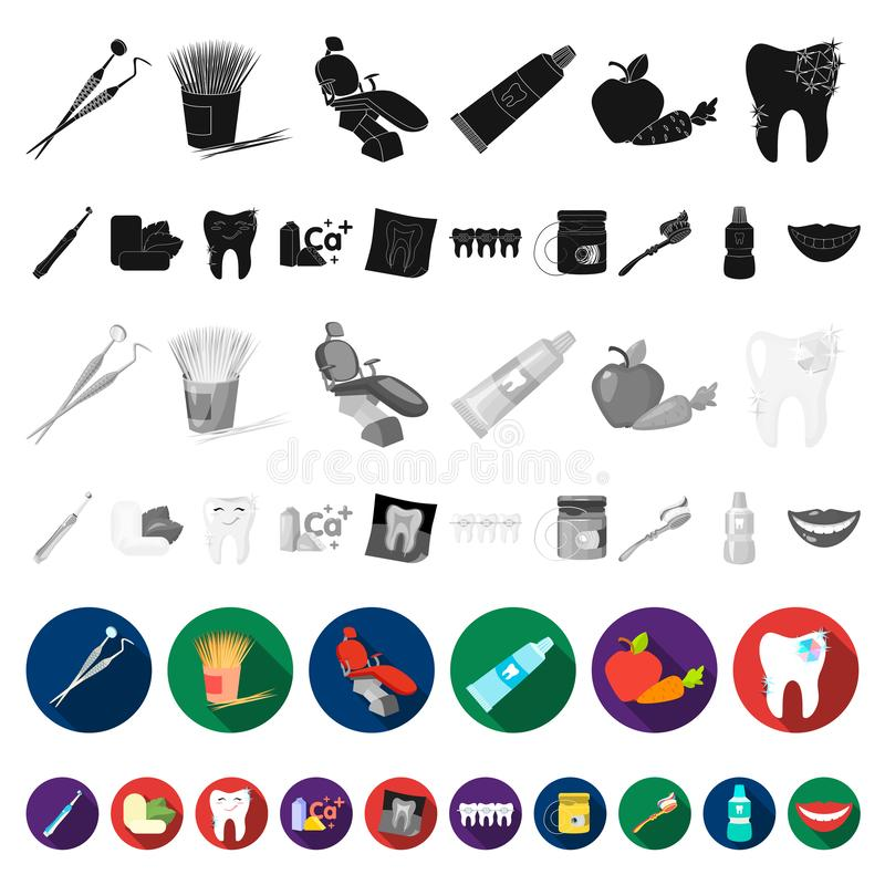 Dental care flat icons in set collection for design. Care of teeth vector symbol stock web illustration. Dental care flat icons in set collection for design royalty free illustration