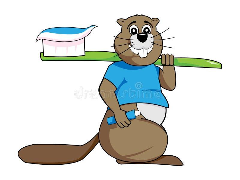 Dental care - happy beaver stock illustration