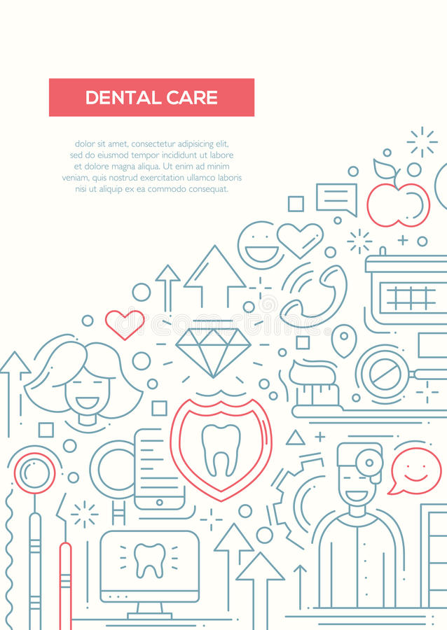 Dental Care - line design brochure poster template A4. Dental Care - vector plain line design brochure poster, flyer presentation template, A4 size layout royalty free illustration