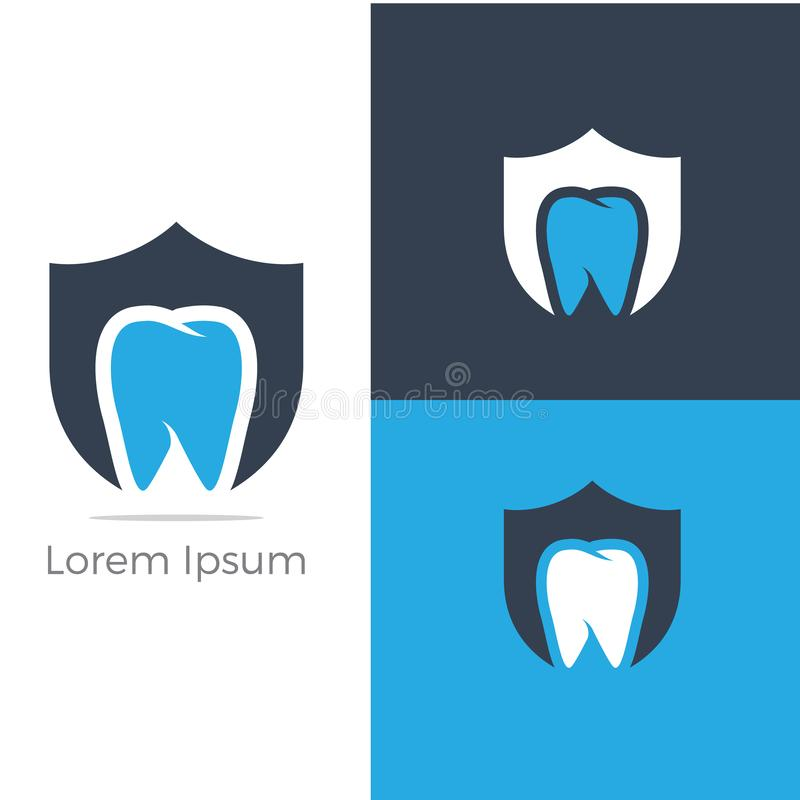 Dental care logo design. Tooth in shield vector illustration. Teeth safety and care. vector illustration