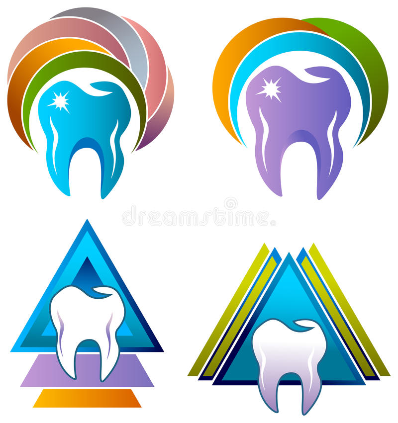 Dental care logo set. Illustrated colorful dental care logo set vector illustration